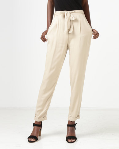 New Look Tie Waist Tapered Trousers Stone