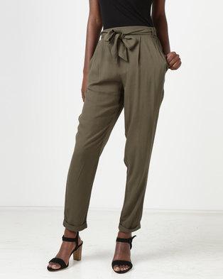 New Look Tie Waist Tapered Trousers Khaki