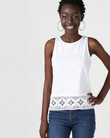 New Look Crochet Hem Vest Top White