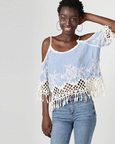 2cc23bdcc6aa4 New Look Crochet Trim Cold Shoulder Top Pale Blue