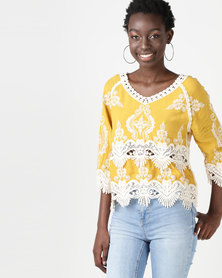 New Look Crochet 3/4 Sleeve Top Yellow