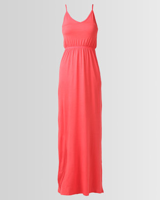 27e3a0f39971 New Look Jersey V-Neck Maxi Dress Red