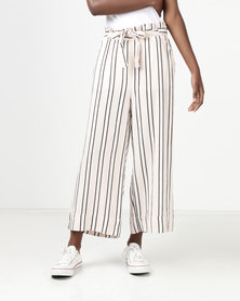 New Look Linen Blend Paperbag Trousers White Stripe