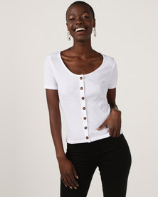 New Look Button Front Ribbed T-Shirt White