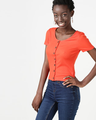 New Look Button Front Ribbed T-Shirt Orange