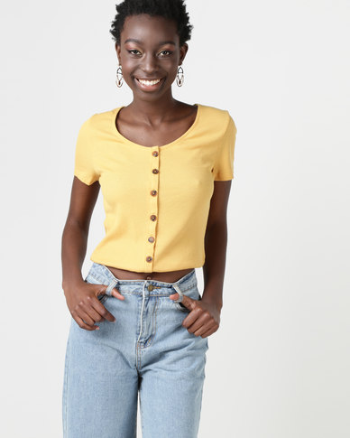 New Look Button Front Ribbed T-Shirt Yellow