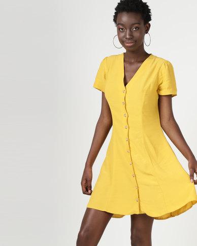 New Look Button Front Tea Dress Mustard