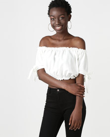 New Look Tie Sleeve Gathered Bardot Crop Top Off White