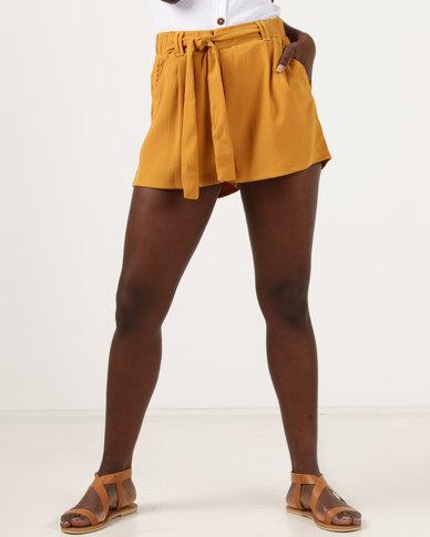 New Look High Tie Waist Shorts Mustard