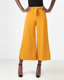 New Look D-Ring Belted Cropped Trousers Mustard