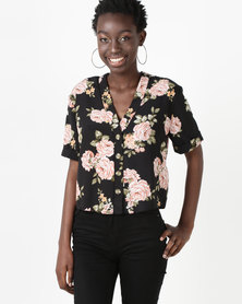 New Look Sleeve Boxy Shirt Black Floral Short