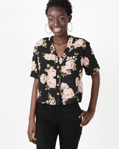 New Look Sleeve Boxy Shirt Black Floral Short