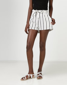 New Look Stripe High Tie Waist Shorts White