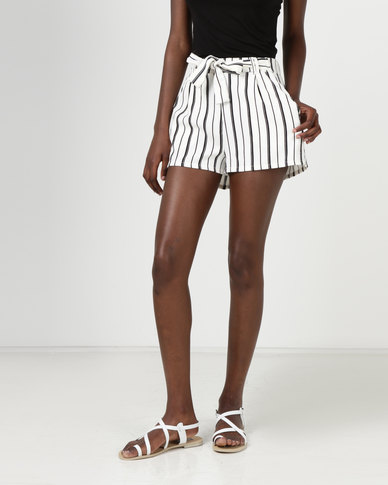 choose genuine suitable for men/women search for official New Look Stripe High Tie Waist Shorts White