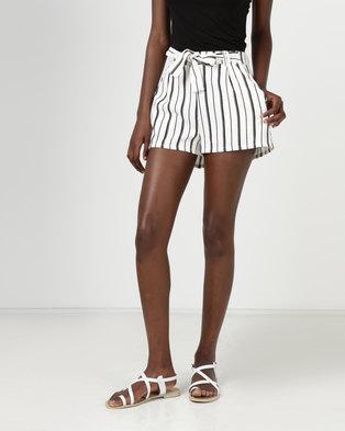 New Look Stripe High Tie Waist Shorts White