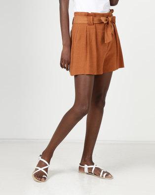 New Look Linen-Look Tie Waist Shorts Rust