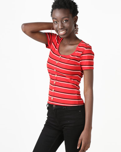 New Look Stripe Button Through Ribbed T-Shirt Red