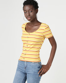 New Look Button Through Ribbed T-Shirt Yellow Stripe