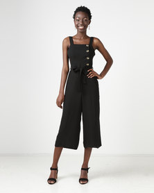New Look Button Side Culotte Jumpsuit Black