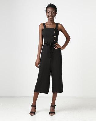 New Look Button Side Culotte Jumpsuit Black