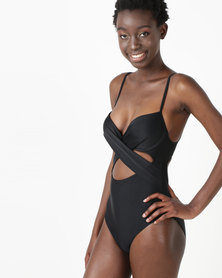 New Look Cut Out Wrap Front Swimsuit Black