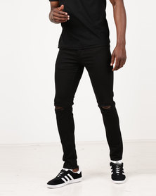 New Look Black Ripped Knee Stretch Skinny Jeans