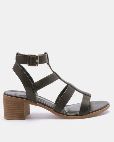 Gladiator Heel Look Block Pop Low Sandals New Black 0wnOkP8X