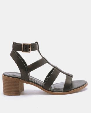 New Look Pop Low Block Heel Gladiator Sandals Black