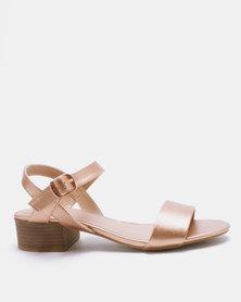 New Look Origano 2 Metallic Low Block Heel Sandals Rose Gold