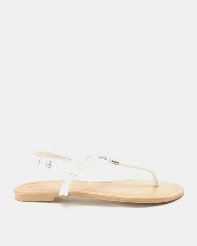 New Look Hot Metal Trim Flat Sandals White