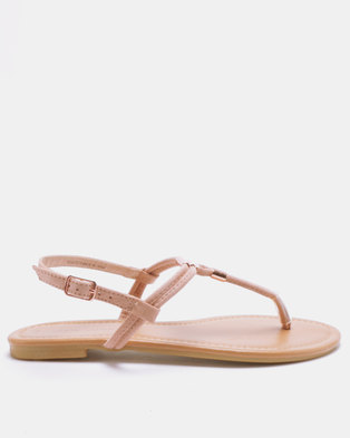 New Look Hot 2 Suedette Metal Trim Flat Sandals Pink