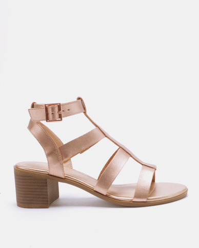 Sandals New Low Gladiator Block Heel Look Gold Pop Rose BCerxdo