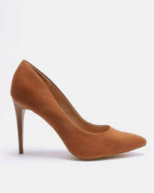 New Look Yummy 10 Suedette Stiletto Heel Pointed Courts Tan