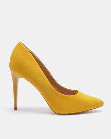 New Look Yummy 10 Suedette Stiletto Heel Pointed Courts Mustard