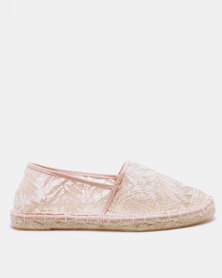 New Look Mace Lace Flat Espadrilles Pink
