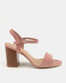 New Look Passion 5 Wide Fit Suedette Wood Heel Sandals Pink