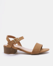 New Look Origano Leather-Look Low Block Heel Sandals Tan