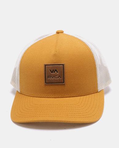 3f5dfc2afef RVCA VA All The Way Curved Brim Trucker Cap Yellow