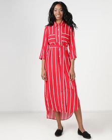 Utopia Viscose Shirt Dress Flame Red Stripe