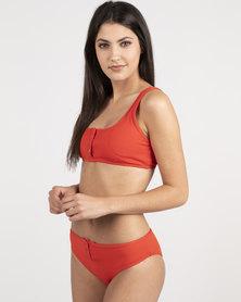 Unseen Edge Ribbed Bikini Red