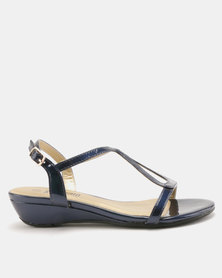 Staccato Wedge Sandals Pearlised Navy