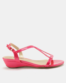 Staccato Wedge Sandals Pearlised Fuschia