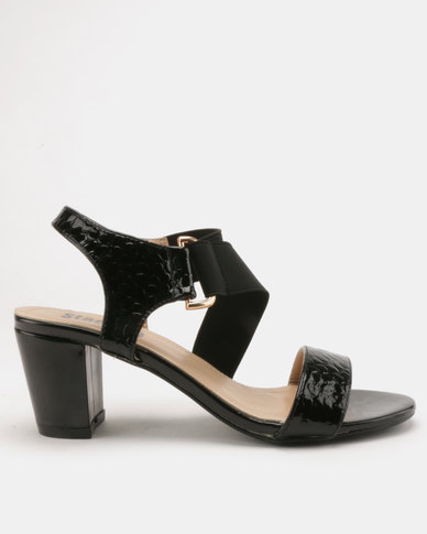 ce78b577865 Staccato Block Heel Sandals Snake PU Black