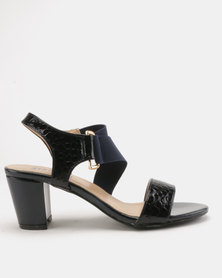Staccato Block Heel Sandals Snake PU Navy