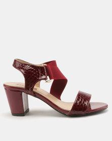 Staccato Block Heel Sandals Snake PU Dark Red