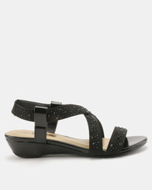Staccato Stretch Sandals Stretched Fabric Black