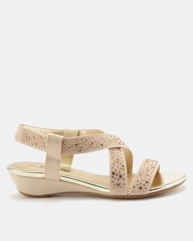 Staccato Stretch Sandals Stretched Fabric Beige