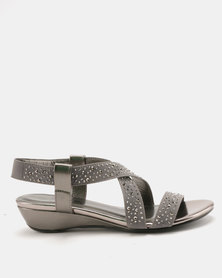 Staccato Stretch Sandals Stretched Fabric Pewter