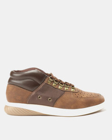 Paul of London Perforated Mid Lace Up Sneakers Tan