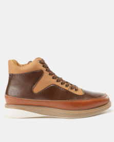 Paul of London Lace Up Combo Boots Tan